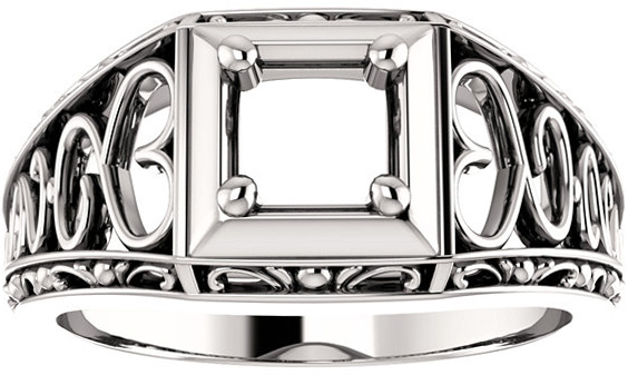 Ornate Solitaire Men's Ring Mounting for Asscher Shape Centergem Sized 5.00 mm to 7.00 mm - Customize Metal, Accents or Gem Type