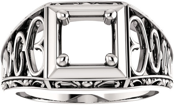 Ornate Solitaire Men's Ring Mounting for Cushion Shape Centergem Sized 5.00 mm to 7.00 mm - Customize Metal, Accents or Gem Type