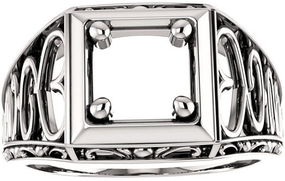 Ornate Solitaire Men's Ring Mounting for Round Shape Centergem Sized 3.00 mm to 7.00 mm - Customize Metal, Accents or Gem Type