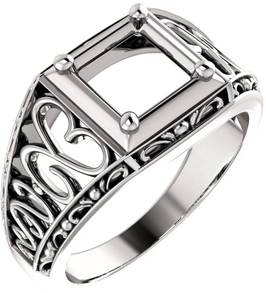 Ornate Solitaire Men's Ring Mounting for Square Shape Centergem Sized 3.50 mm to 7.00 mm - Customize Metal, Accents or Gem Type
