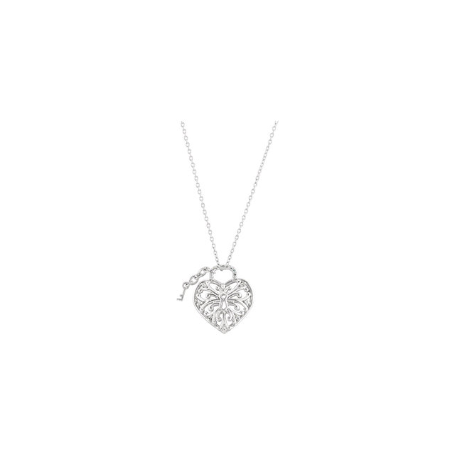 Real Diamond Necklace in Ornate Sterling Silver 1/10 Carat Diamond Heart Lock Necklace