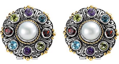 Outstanding Multicolored Gemstone Post Back Earrings With Mabe Pearl Center - Amethyst, Topaz, Garnet & Peridot