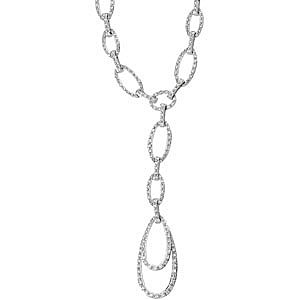 Outstanding Oval Chain Link 1.63ct Diamond Pendant With a Dramatic Drop Style in 14k White Gold