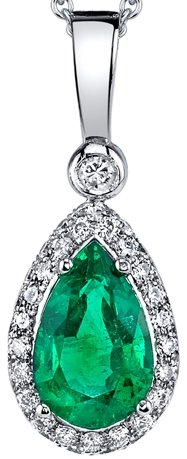 Outstanding Vibrant Rich Vivid Green 1.63 carat Columbian Emerald Gemstone Pendant in 18kt White Gold - 0.65 carats Diamond Accents -SOLD