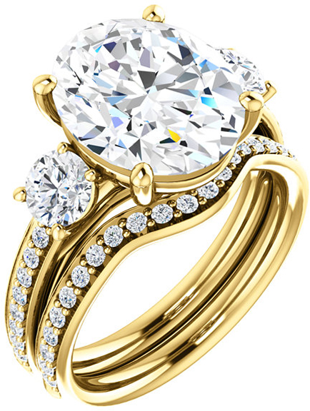 Oval 3-Stone Engagement Mounting for 6.00 x 4.00 mm to 12.00 x 10.00 mm Center Gem, 2 Round Sidegems - Customize Metal, Accents or Gem Type