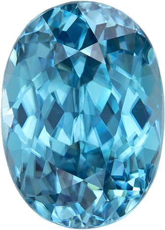 Oval Cut Blue  Zircon Loose Gem in Vivid Rich Blue, 9.9 x 7.2 mm, 4.04 Carats