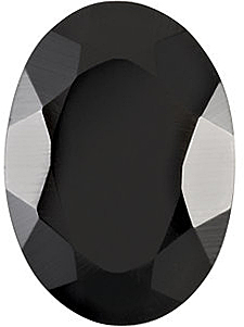 Oval Faceted Black Onyx in Grade AAA