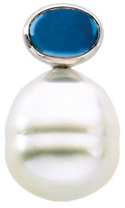 Oval London Blue Topaz Semi-mount Pendant for Pearl