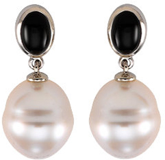Oval Onyx Dangle Earrings