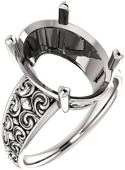 Oval Sculptural Style Solitaire Ring Mounting for 6.00 x 4.00 mm - 16.00 x 12.00 mm Center - Customize Metal, Accents or Gem Type