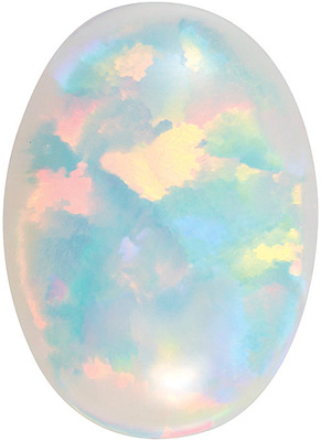 Oval Shape Chatham Created White Opal High Quality Gemstone Grade GEM, 14.00 x 10.00 mm in Size