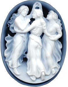 Oval Shape Three Ladies Cameo Real Quality Gemstone 25.00 x 18.00 mm in Size
