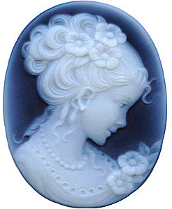 Oval Shape Victorian Lady Black Agate Cameo Real Quality Gemstone 25.00 x 18.00 mm in Size