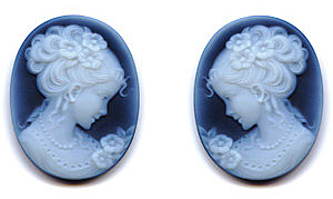 Oval Shape Victorian Lady PairBlack Agate Cameo Real Quality Gemstone 14.00 x 10.00 mm in Size