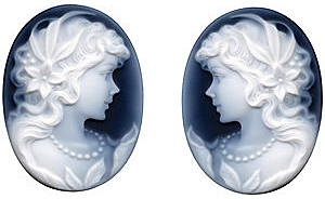 Oval Shape Victorian Lady With Pearls PairBlack Agate Cameo Real Quality Gemstone 14.00 x 10.00 mm in Size