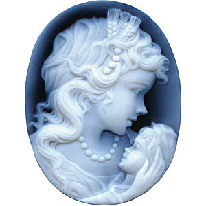 Oval Shape Woman & Child Black Agate Cameo Real Quality Gemstone 18.00 x 13.00 mm in Size