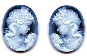 Oval Shape Woman & Child PairBlack Agate Cameo Real Quality Gemstone 14.00 x 10.00 mm in Size