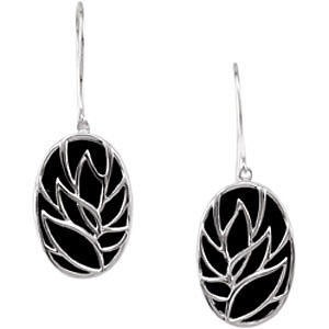 Oval Shaped Leaf Design Earrings on an 8.82ct 18x12mm Onyx Background - Sterling Silver Wire Earrings - SOLD