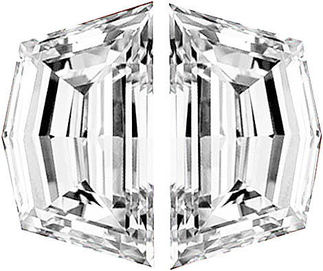 Pair of Cadi Cut Diamonds Step Cut F Color  VS Clarity