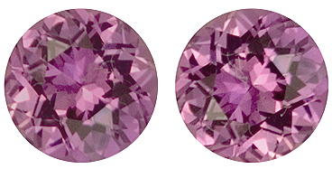 Pair of Dazzling Purple and Pink Sapphire Genuine Gemstones, Round Cut, 1.51 carats
