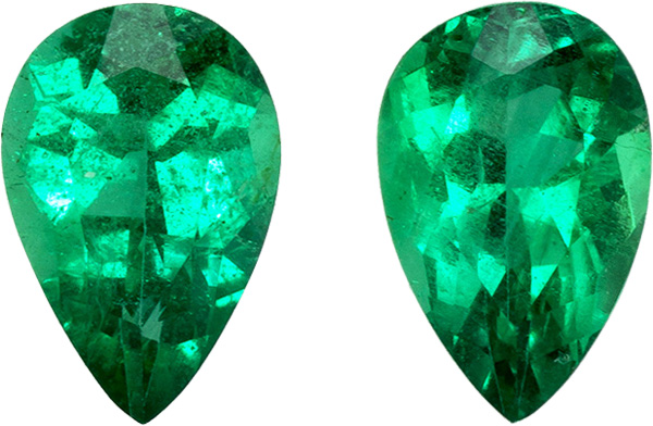 Pair of Emeralds in Pear Cut, Vivid Intense Green, 6 x 4 mm, 0.74 carats