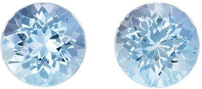 Pair of Loose Gemstones Blue Aquamarine Rounds, Rare No Heat, 1.70 carats, 6.1 mm