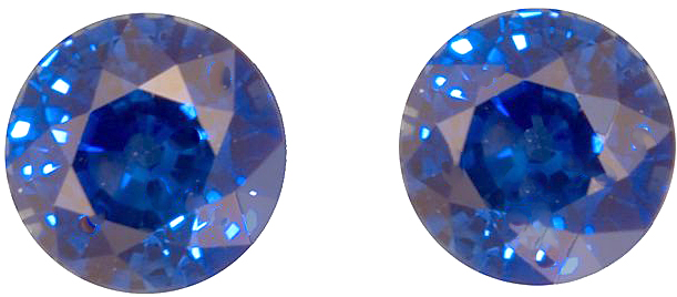 Pair of Rich Blue Sapphire Natural Gemstone, AGL Cert, Round Cut, 2.66 carats