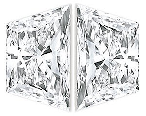 Pair of Trapezoid Diamonds Brilliant Cut G-H Color VS1 Clarity