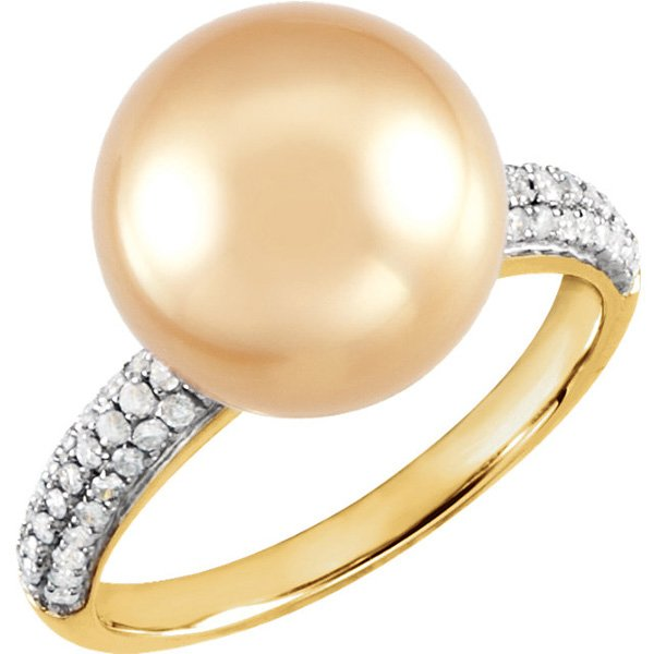 Pave Band 14 Karat Yellow Gold Golden South Sea Pearl & 1/3 Carat Total Weight Diamond Ring