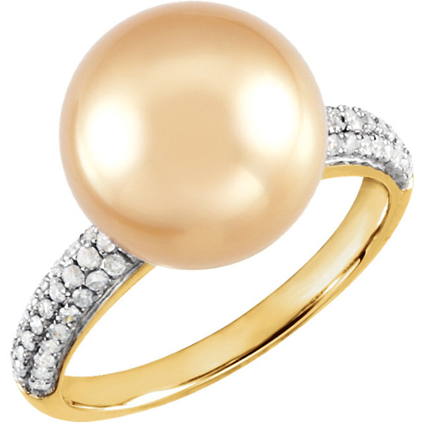Pave Band 14 KT Yellow Gold Golden South Sea Pearl & 1/3 Carat TW Diamond Ring