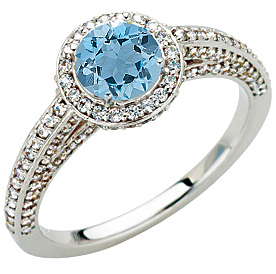 Pave Diamond Encrusted White Gold Ring set with Low Price on Xtra Blue .9ct 5.8mm Aquamarine Gem for SALE