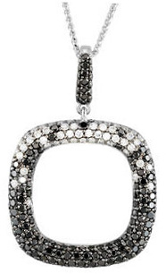 Pave Open Square 14 Karat White Gold 1 3/4 Carat Total Weight Black & White Diamond 18