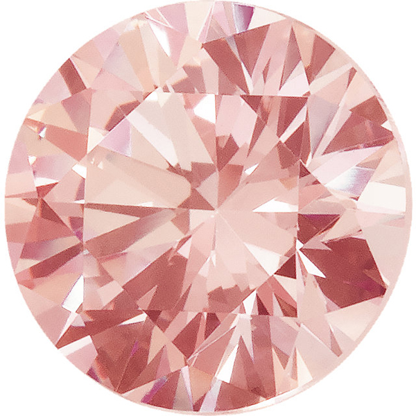 Peach Swarovski Cubic Zirconia Quality Loose Gemstone in Round Cut, Sized 6.00 mm