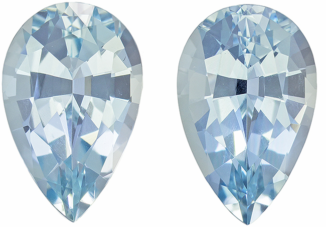 Pear Cut Aquamarine Pair in Rich Sky Blue Color, 10.2 x 6.4 mm, 3.24 carats