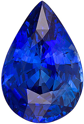 Pear Cut Genuine Blue Sapphire in Grade AAA
