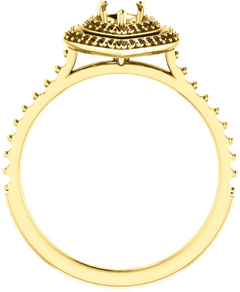 Pear Double Halo Accented Engagement Ring Mounting for Shape Centergems Sized 5.00 x 3.00 mm to 10.00 x 7.00 mm - Customize Metal, Accents or Gem Type