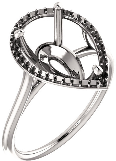 Pear Halo Solitaire Engagement Ring Mounting for 6.00 x 4.00 mm to 12.00 x 8.00 mm Center - Customize Metal, Accents or Gem Type