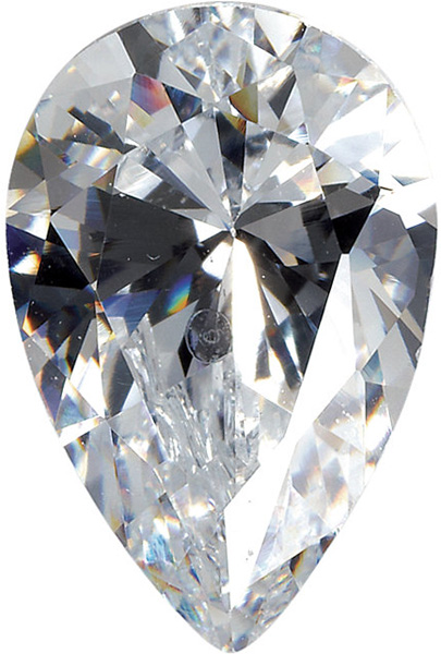 Genuine Colorless Cubic Zirconia Gemstone in Pear Shape Sized 14.00 x 9.00 mm
