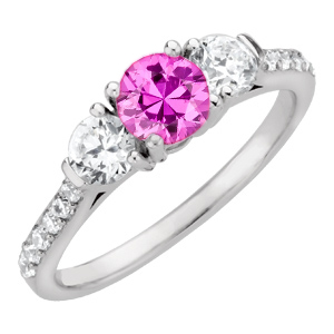 Perfect  1 carat 6mm Hot Pink Sapphire Engagement Ring - Diamond Side Gems and Diamond Accents Along Band