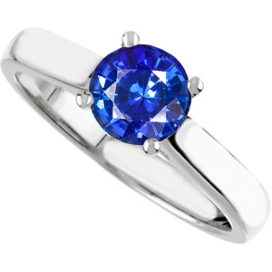 Perfect Choice for Round Solitaire Genuine 1.20 carat GEM Vivid Color 6.2mm Blue Sapphire Engagement Ring - Diamond Accents at Base of Prongs