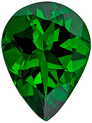 Perfect Clean Rich Deep Green Tsavorite for SALE! Best Gemstone at Great Price, Pear cut, 1.34 carats