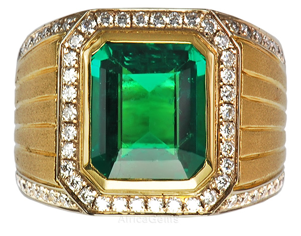 Perfect Columbian Emerald set in Classic Pave Diamond Designer Ring - SOLD