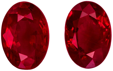 Perfect Earring Rubies in 1.32 carat Oval shaped genuine gemstone, 6 x 4 mm