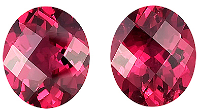 Perfect for Earrings, Pair of Raspberry Red Tourmalines for SALE, Oval Cut, 11 x 9 mm,  Checkerboard Cut - 6.88 carats