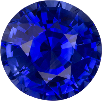 Perfect Gem Blue Sapphire Gem in Round Cut, 7.8 mm, 2.15 carats