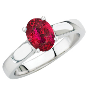 Perfect Genuine 1 carat Low Price on 7x5mm Ruby Gemstone in Bold Chunky Ruby Solitaire Engagement Ring for SALE