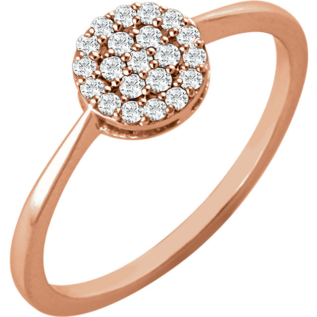14 KT Rose Gold 1/5 Carat Total Weight Diamond Cluster Ring