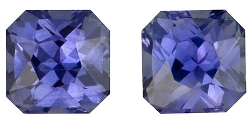 Perfect Matched Pair, Fine Purple Sapphire Natural Gemstones, Radiant Cut, 3.23 carats