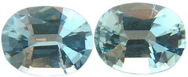 Perfect Medium Blue Oval Aquamarines Gemstone Matched Pair 3.24 carats