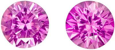 Perfect Pair of Intense Pink Sapphires in Round Cut, 1.16 carats, 5.0 mm  Perfect Earring Studs